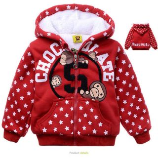 2 7 Years Baby Toddler Kids Boys Winter Warm Fleece Hooded Jacket Coat W1117
