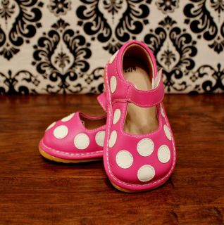 Pink with White Polka Dot Toddler Girl Squeaky Shoes Sizes 3 4 5 6 7 8 9