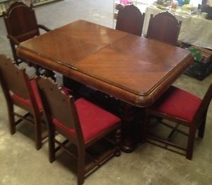 Antique Vintage Art Deco Depression Dining Room Table 6 Chairs
