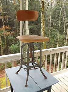 Draftsman Stool Uhl Steel Toledo Furniture Co Machine Age Chair 1930 40s
