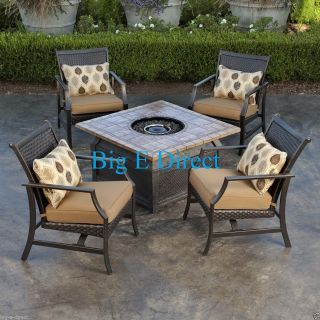 ★ Outdoor Patio 5 PC Propane Firepit Table Set Aluminum Frame Wicker Back Chairs