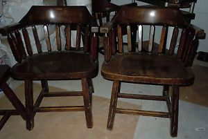 4 Old Windsor Arm Chairs Early American Barrel Back Dark Wood Chairs