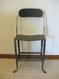 Vintage Machine Age Industrial Metal Wood Adjustable Chair Stool Domore Co