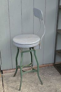 Vintage Industrial Modern Toledo Uhl Drafting Stool Machine Age Chair Eames