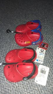 New Red Disney Crocs Caymen Baby Boy Girl Mickey Mouse or Lightning McQueen $30