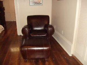 Pottery Barn Manhattan Leather Chair and Ottoman