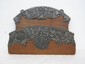 Large Antique Oak Wood Art Nouveau Wall Letter Newspaper Rack Tray Hall Stand