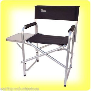 Free s H Earth Extra Heavy Duty Folding Directors Chair w Side Table