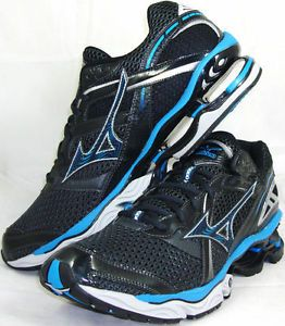 Mizuno $140 Mens Sz 9 Wave Creation 12 Running Shoe Black Blue Silver