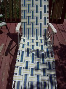 Vintage Sunbeam Aluminum Folding Web Strap Chaise Lounge Beach Deck Chair