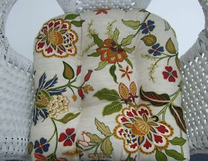 Wicker Chair Cushion Tufted Ivory Red Green Gold Floral Damask Indoor Outdoor