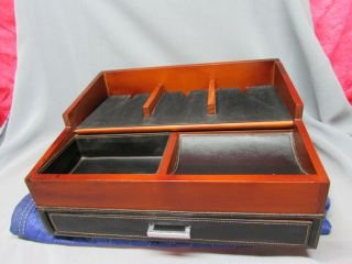Leather Cherry Wood Finish Desk Top Mail File Box Paper Pen Organizer Nice