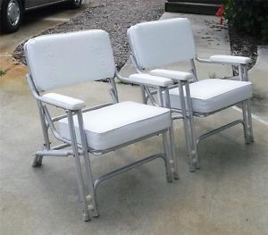 Pair of Garelick Boat Yacht Deck Marine Aluminum Chairs Patio Mid Century Modern