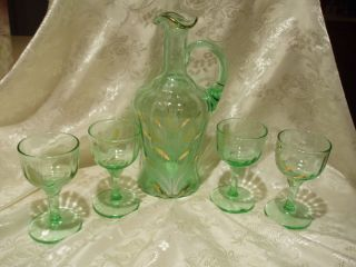 Vintage Fluted Decanter or Pitcher with 4 Glasses Green Flowers