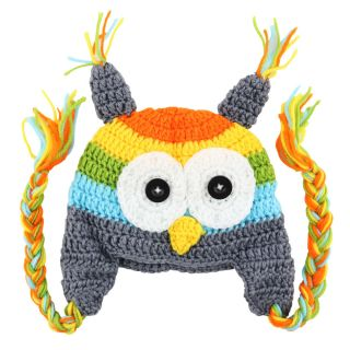 Lovely Cute Baby Boy Girl Toddler Owls Owl Knit Crochet Hat Beanie Cap Grey