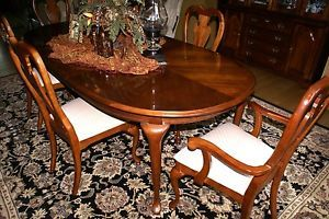 American Drew Traditional Cherry Dining Table 6 Chairs Hutch and Server