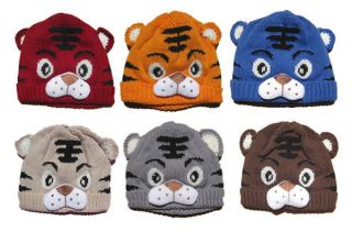 1pc Baby Girls Boys Kids Children Newborn Crochet Knit Tiger Animal Hat Cap Tail