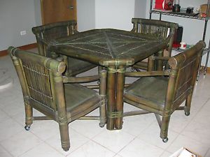 Rattan Table 4 Chairs Game Breakfast Table Custom Made Pre Owned