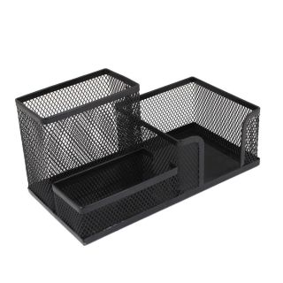 School Desk Black Metal Mesh Style Pencil Pen Holder Organizer