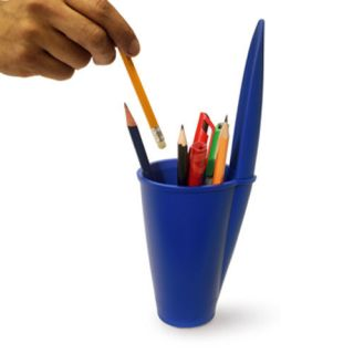 J Me Giant BIC Lid Pen Pot Pencil Holder Blue Office Desk Organizer XL Pen Cap