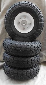 "4 Tires 10"" New Steel Air Pneumatic Hand Truck Dolly Wagon Wheel"