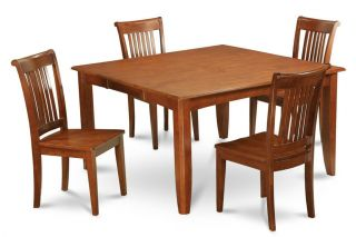 9pc Square Dinette Kitchen Dining Table Set 8 Wood Seat Chairs in Brown