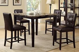 Modern 5pc Dining Set Faux Marble Table Top Faux Leather High Chairs