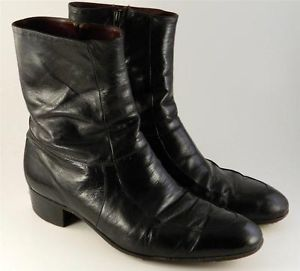 Mens Leather Side Zip Boots