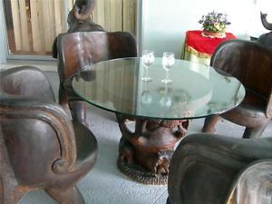 Unique Teak Wood Hand Carved Elephant Chairs and Glass Top Table Thailand