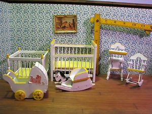 Lot Yellow White Wood Baby Doll House Furniture Crib Playpen Rockers High Chair