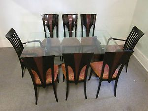 Mid Century Italian Dining Set in Black Laquer Burl Wood Glass Top Table