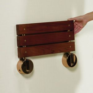 Bengal Teak Wall Mount Folding Wooden Shower Seat Gold Plated Hinges Bathroom