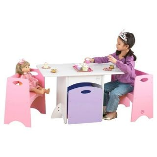 Kids Wood Piece Table and Chair Set Desk Furniture Tea Activity Room Play House