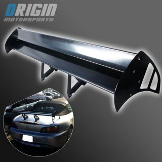 "55"" Universal Dual Double Deck GT Racing Style Black Aluminum Rear Spoiler Wing"