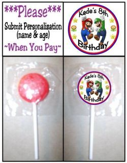 24 Super Mario Brothers Bros Birthday Party Lollipop Stickers