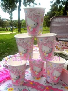 6pcs Sanrio Hello Kitty Birthday Wedding Christmas Party Supply Paper Cups Mugs