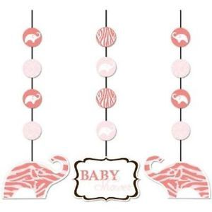 Wild Safari Pink Elephant Hanging Cutouts 3 Ct Baby Girl Shower Party Supply