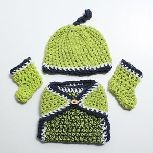 Newborn Reborn Baby Doll Green Blue Baby Boys Crochet Knit Diaper Cover Hat Set