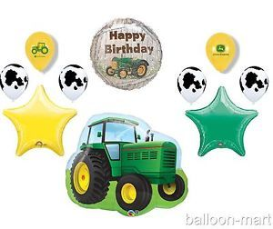 10pc John Deere Tractor Balloons Set Birthday Party Supplies Cow Print Farm Lot