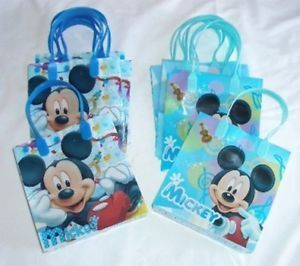 12 Pieces Light Blue Mickey Mouse Goody Gift Bag Birthday Party Favors Supplies