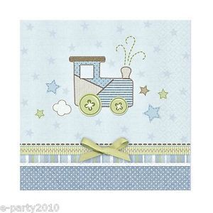 16 Carter's Baby Boy Train Small Napkins Shower 1st Birthday Party Supplies