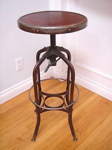 Vintage Early Uhl Toledo Metal Ohio Industrial Steel Work Draftsman Stool Chair
