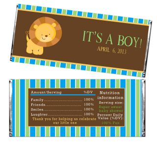 30 Personalized Lion Jungle Baby Shower Chocolate Candy Bar Wrappers Its A Boy