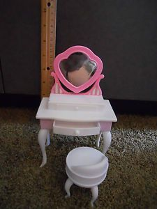 Barbie Bratz Monster High Doll House Bed Bath Room Pink White Vanity with Chair