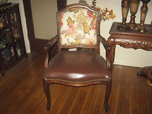 Armchair w Nailhead Accents Faux Brown Leather Floral Pattern Walnut Color
