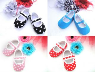 Mary Jane Polka Dot Girls Baby Crib Shoes 6 12 Month