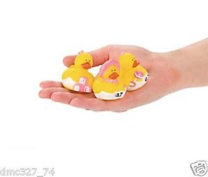 12 Baby Shower Favor Mini Girl Pink Rubber Ducks Ducky