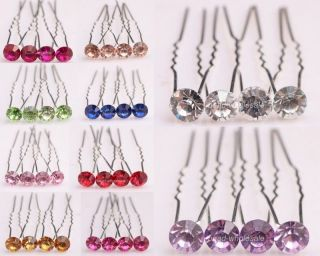 Charm Stylish 10pcs Bridal Party Wedding Clear Crystal Rhinestone Hair Pins Pick