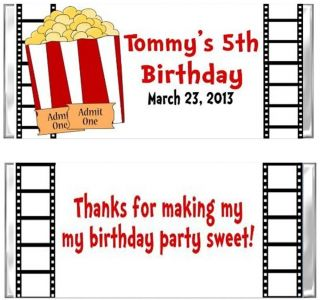 Movie Theater Popcorn Birthday Candy Wrappers Party Favors Custom Personalized