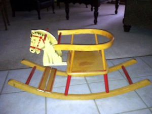 Vintage 1940's Wooden Rocking Horse Chair Toy Child's Ride on All Original